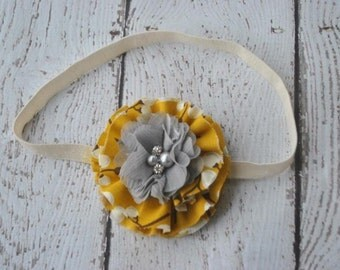 Mustard and Gray flower headband/ clip