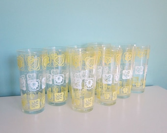 Mid Century Tumblers - Atomic Yellow Tumblers, Vintage Ice Tea Glasses, Retro Water Glasses, Yellow & White Barware, Mid Mod Tumblers