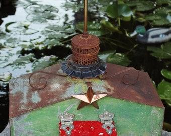 "Birdhouse, Metal Birdhouse, Reclaimed Objects Birdhouse, ""Texas Hill Country"""