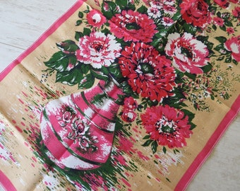 Vintage Kitchen Towel Dishtowel Dishcloth Linen Table Runner Cotton Towel Pink Tea Towel Home Decor Soviet Kitchen Towels