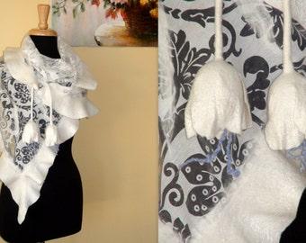 Felted ruffled shawl scarf - White Dream - Wedding Bride Something blue baktus tulips frill Bridal Bolero capelet Coverup