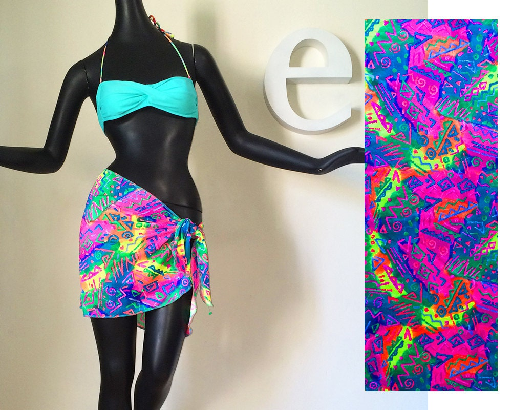 Vintage 80s NEON Swimsuit Cover Up Pareo Wrap Skirt New Wave
