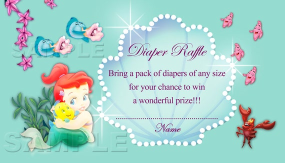 disney baby princess ariel diaper raffle ticket diaper raffle card