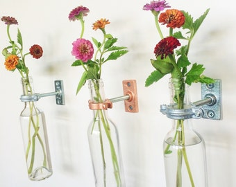 5 Wine Bottle Wall Flower Vases -  Wall Sconce - Wall Decor -Spring Decor - Spring Flowers - Wine bottle Decor