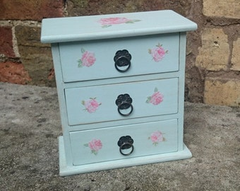Duck Egg Blue and Pink Roses Shabby Chic Mini Chest of Drawers Jewellery Box Craft Storage