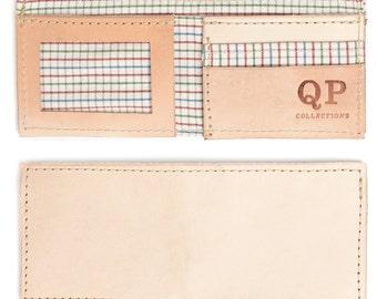 Handmade Natural Leather Men's Bifold Wallet, Grid liner