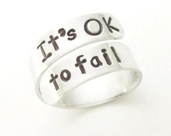 Inspirational gift - Its OK to fail - Know when to quit - Failure jewelry - Jewelry about failing - Unafraid to fail - Message jewelry