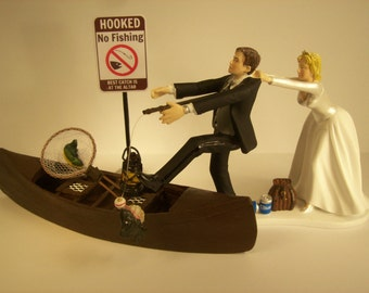 No FISHING Come back ! Funny Wedding Cake Topper w/ Boat Bride and Groom Angler Best Catch Fisherman