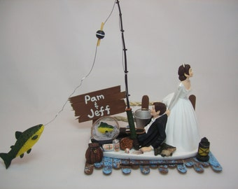 NO FISHING On 6 Dock With PERSONALIZED Sign Fish Funny Wedding Cake Topper Brown
