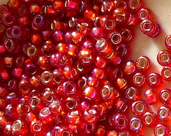 11/0 Rainbow Red Glass Seed Beads - Silver Lined - Item # RRB110A