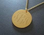 Gold Laser Engraved Monogram Necklace - 4 different pendant sizes