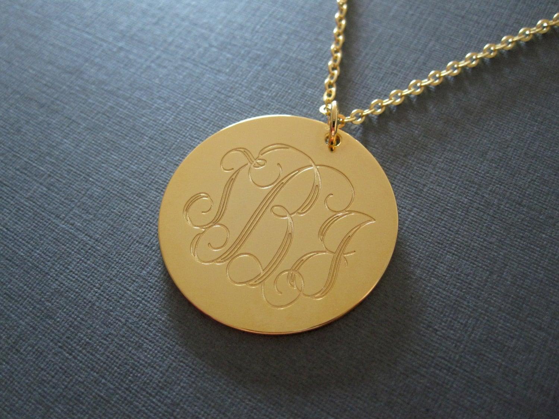 gold laser engraved monogram necklace 4 different pendant