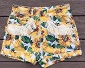 SALE 90s Sunflower Daisy High Waisted Fringe Upcycled Shorts