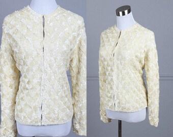 "Vintage 50s Sweater, Angora Wool, Sequins, Long Sleeve, Ivory, Cream, Off-White, Evershine, M, L, 38"" Bust, 36"" Waist"