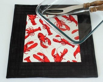 Fabric Trivet, Quilted Hot Pad, Lobster Trivet, Red White Black, Seafood Trivet, Casserole Mat, Quiltsy Handmade