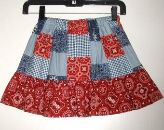 "Red white blue Skirt  Michael Miller Patchwork fabric Clearance length 13"", waist 22"""