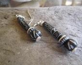 black bone earrings, carved bone earrings, tribal earrings, hawaii surfer style, ethnic carved jewelry