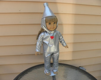 """The Tin Man Costume from the Wizard of Oz designed to fit 18""""' dolls such as American Girl"""