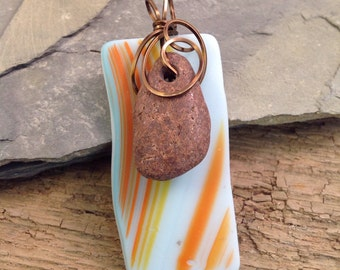 Vintage Bronze Wire Wrapped Sea Glass Pendant with Lake Superior Stone