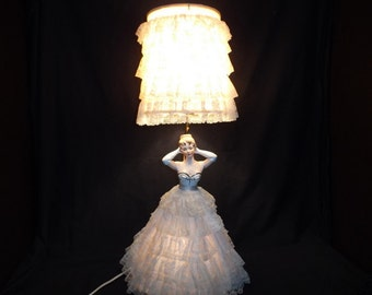 Vintage Shabby Chic 3 way lamp   shabby chic lamp   vintage lamp   vintage lace lamp   vintage shabby chic decor   cottage decor