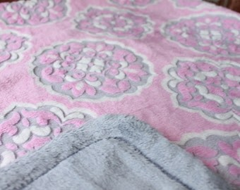 Minky Blanket - Pink and Grey Medallion Minky with Grey Smooth Minky Backing - lush baby blanket, stroller blanket. Larger sizes available