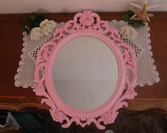 Large Oval Mirror Ornate Pink Baroque Shabby Chic Distressed French Country Farmhouse Paris Girly Girl Cottage Bedroom Home Decor Gift Her