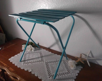 Folding End Table Plant Stand Aqua Turquoise Blue Shabby Chic Distressed Beach Cottage Coastal Seaside Tropical Island Home Decor Vintage