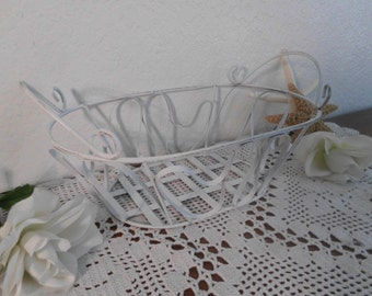 White Shabby Chic Metal Basket Wedding Reception Bridal Shower Cupcake Muffin Buffet Decoration Cottage Country Farmhouse Kitchen Decor Gift