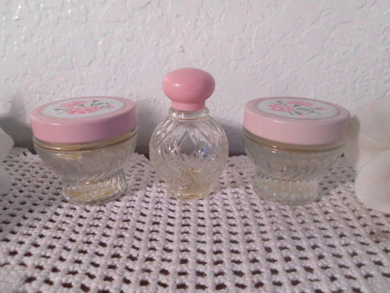Vintage Pink Perfume Bottle Cream Jar Set Cute Shabby Chic Cottage Paris French Country Farmhouse Vanity Bedroom Home Decor Gift Her Avon
