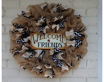 Jute Burlap Welcome Friends Wreath