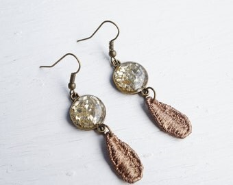 Gold Glass Glitter and Brown Lace Earrings
