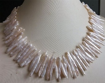 PEARL NECKLACE - cultured 18inch 20-35mm white biwa pearl necklace