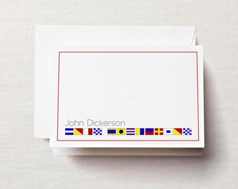 Personalized Nautical Flag Note Cards