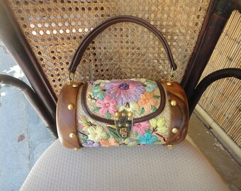 Straw handbag with colorful flowers wood and brass barrell shaped Phillipines 1970's