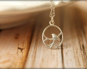 Small Openwork Perched Bird Necklace in Sterling Silver
