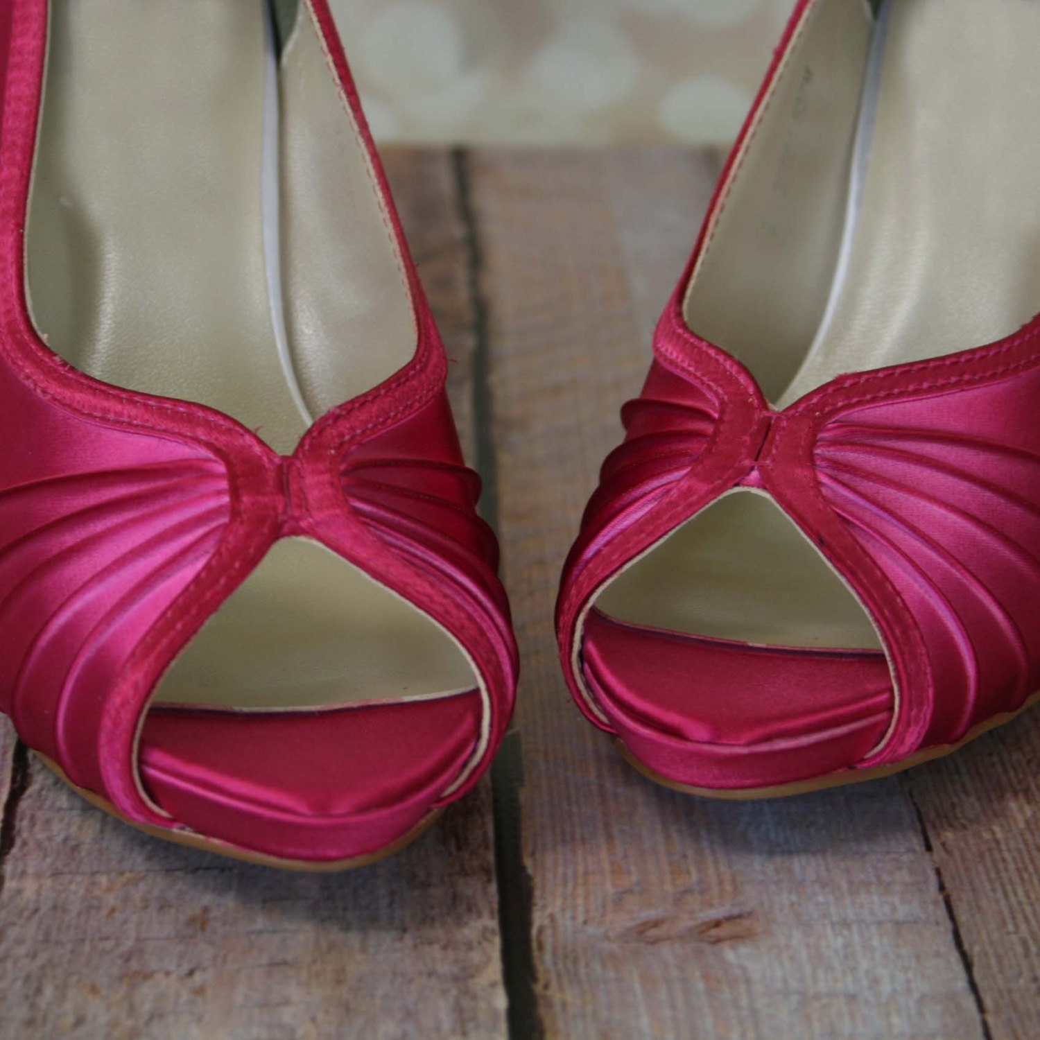 Wedding Shoes Fuschia Peep Toe Wedding By DesignYourPedestal