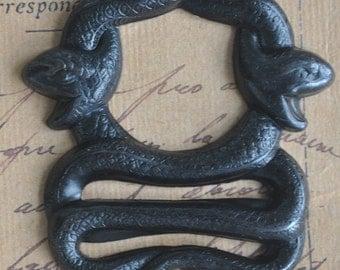 Double Snakes Brass Bezel, Black Satin Finish - Jewelry Supplies by CalliopesAttic