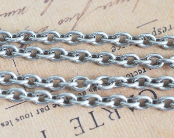 18 gauge Brass, Simple Cable Link Chain, X1FT,  Sterling Silver Finish