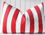Red Stripe Pillow Cover, Throw Pillow, Decorative Pillow, Red White Stripe Cushion, Accent Pillow 12 x 18, Vertical Stripe