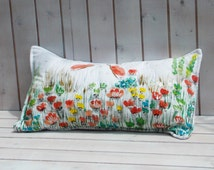 Spring kids home pillow with wildflowers and butterflies, quilted pillowcase, cushion, nursery home decor