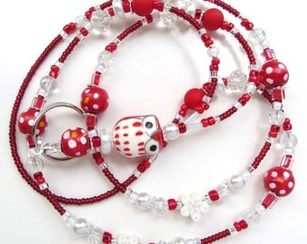 CHEERFUL RED OWL- Beaded Id Lanyard- Porcelain Owl, Polymer Clay, Wood and Matte Beads, Pearls, & Sparkling Crystals (Comfort Created)