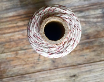 Metallic Red on White Baker's Twine - 4ply - 100 Meters Cotton Twine