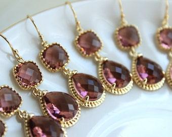 15% Off Set of 9 Wedding Jewelry Bridesmaid Earrings Bridal Bridesmaid Jewelry Eggplant Earrings Purple Plum Gold Teardrop