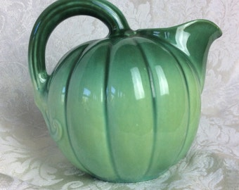 Vintage pumpkin pitcher green gourd pitcher