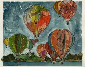 Hot Air Balloon Collage - Original