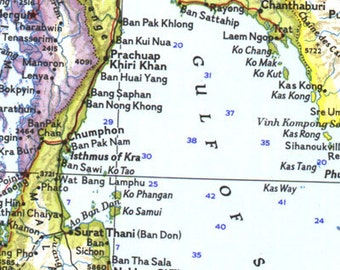 Vintage Map of South East Asia 1961 25 x 19