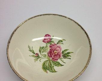 J & G Meakin Peony bowl Studio Ware, Pink Flowers, Gold Brush Trim Mid Century