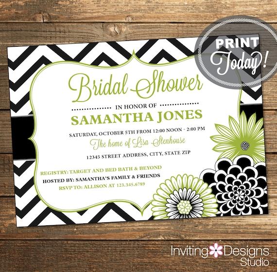 Bridal Shower Invitation, Wedding Shower Invitation, Chevron, Floral, Green, Greenery Wedding, Printable (Custom Order, INSTANT DOWNLOAD)
