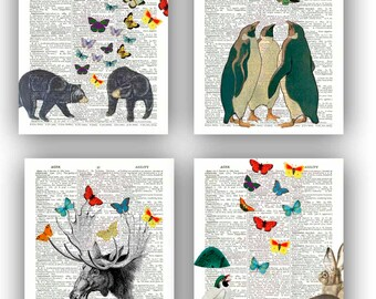 Butterfly art, Fantasy collage butterflies prints, country cottage decor, butterflies lovers gift, black bear, pinguin, nursery art, set 4