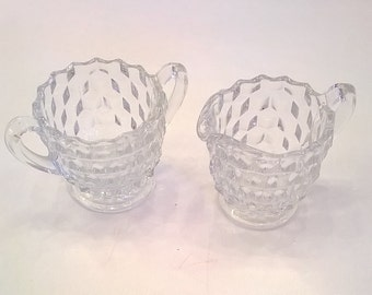 Vintage Fostoria American Glass Small Creamer and Sugar Bowl - Fostoria Pattern #2056